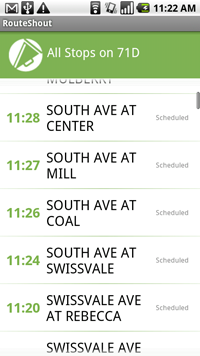 Android showing 'Route Stops' in Routeshout App